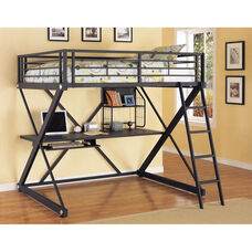 Z-Bedroom Full Size Study Loft Bunk Bed with Ladder - Textured Black with Silver Trim and Pulls