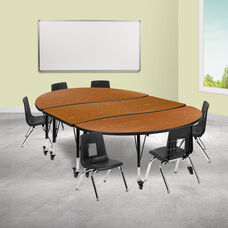 """Mobile 86"""" Oval Wave Collaborative Laminate Activity Table Set with 12"""" Student Stack Chairs, Oak/Black"""