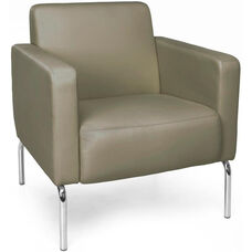 Triumph Lounge Chair with Vinyl Seat with Chrome Feet - Taupe
