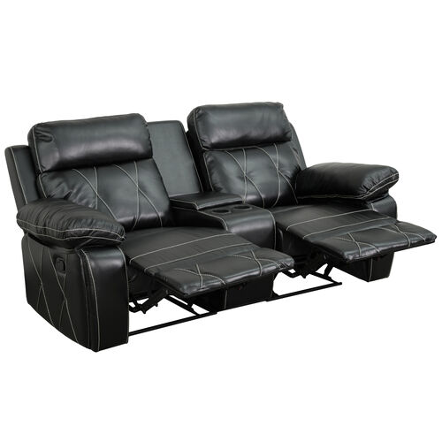 Reel Comfort Series 2-Seat Reclining LeatherSoft Theater Seating Unit with Straight Cup Holders