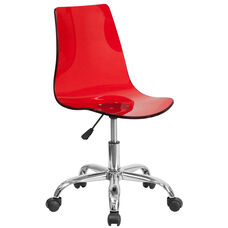 Contemporary Transparent Red Acrylic Swivel Task Office Chair with Chrome Base