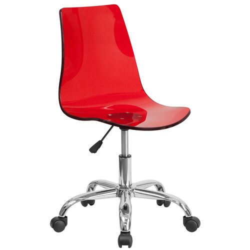 Our Contemporary Transparent Red Acrylic Swivel Task Office Chair with Chrome Base is on sale now.