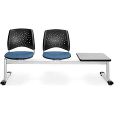 Stars 3-Beam Seating with 2 Cornflower Blue Fabric Seats and 1 Table - Gray Nebula Finish