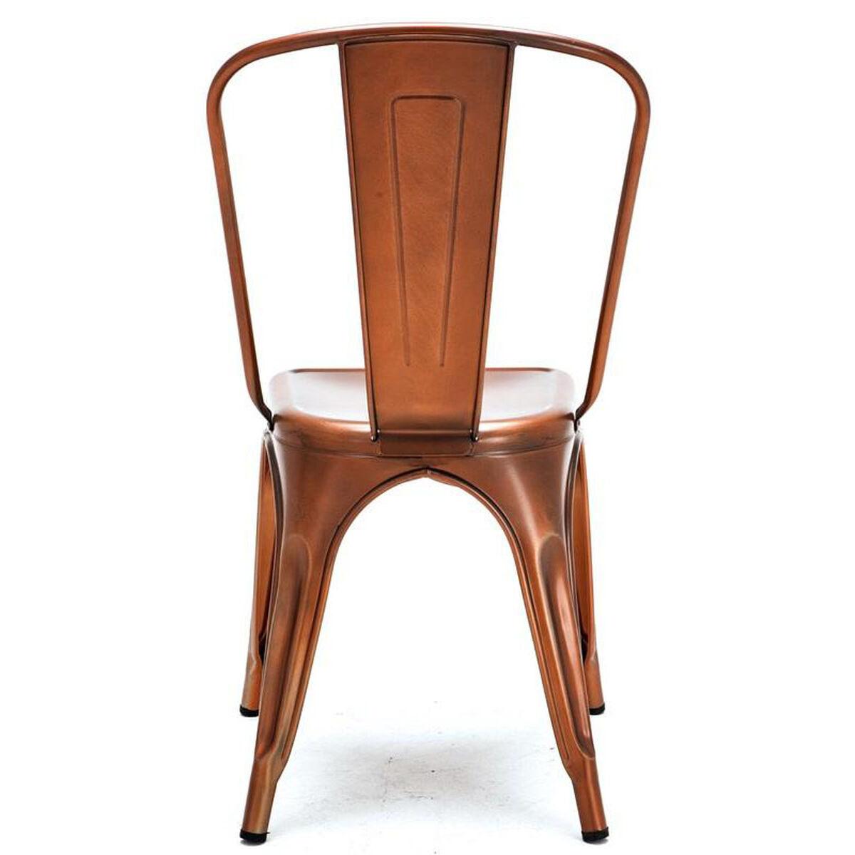 Dreux Stackable Vintage Copper Steel Side Chair Set Of 4