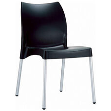 Vita Outdoor Resin Stackable Dining Chair with Aluminum Legs - Black
