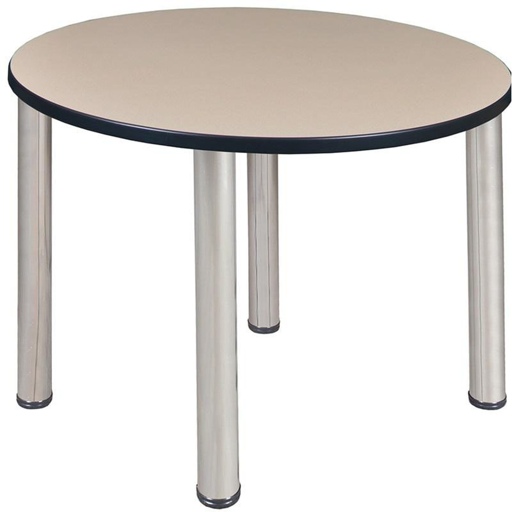 Kee Round Laminate Breakroom Table with PVC Edge - Chrome Legs