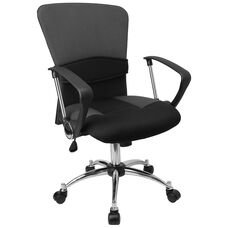 Mid-Back Grey Mesh Swivel Task Office Chair with Adjustable Lumbar Support and Arms