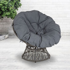 Bowie Comfort Series Swivel Patio Chair with Dark Gray Cushion