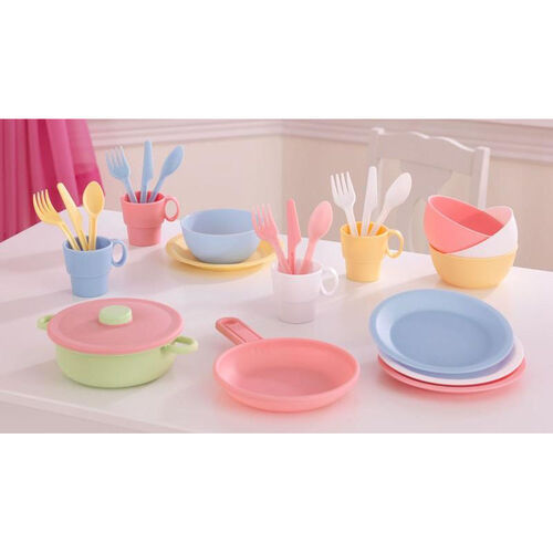 Our Kids Make-Believe 27 Piece Plastic Kitchen Cookware Play Set - Pastel is on sale now.