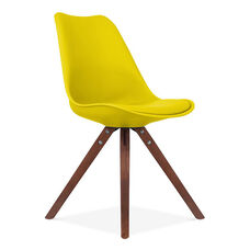 Viborg Mid Century Yellow Side Chair with Walnut Wood Base - Set of 2