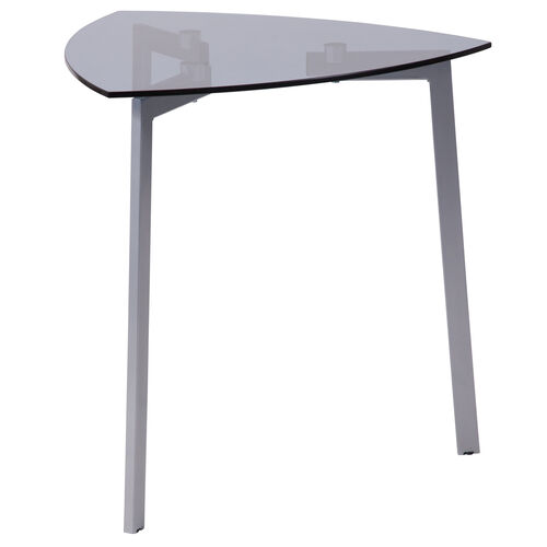 Our Brighton Collection Smoked Glass Triangular Side Table with Silver Metal Legs is on sale now.