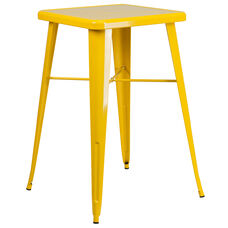 "Commercial Grade 23.75"" Square Yellow Metal Indoor-Outdoor Bar Height Table"