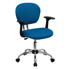 Mid-Back Turquoise Mesh Padded Swivel Task Office Chair with Chrome Base and Arms