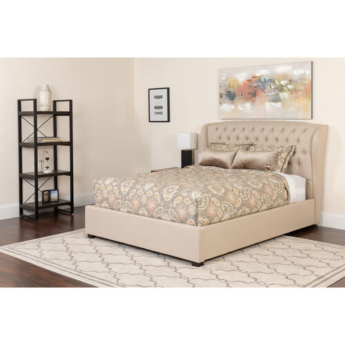 Our Barletta Tufted Upholstered Full Size Platform Bed in Beige Fabric with Pocket Spring Mattress is on sale now.