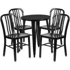 """Commercial Grade 24"""" Round Black Metal Indoor-Outdoor Table Set with 4 Vertical Slat Back Chairs"""