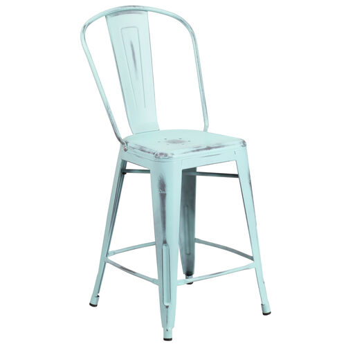 "Our Commercial Grade 24"" High Distressed Green-Blue Metal Indoor-Outdoor Counter Height Stool with Back is on sale now."