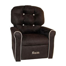 Kids Personalized 4 Button Microsuede Rocking Recliner with Oyster Trim - Espresso