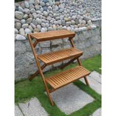 Malibu Outdoor Three Layer Wood Garden Plant Stand with Straight Shelves
