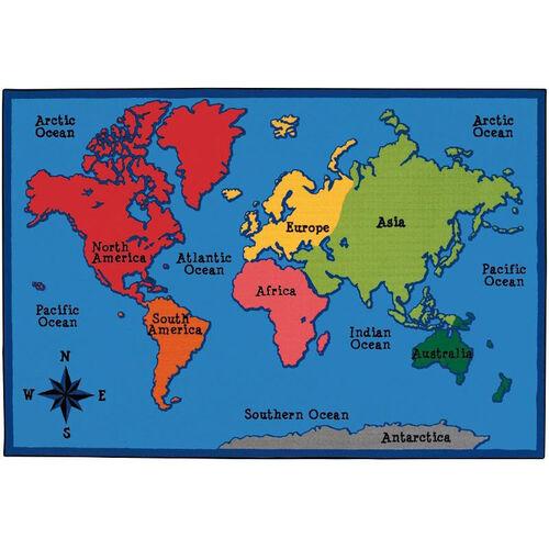 Our Kids Value World Map Rectangular Nylon Rug - 96