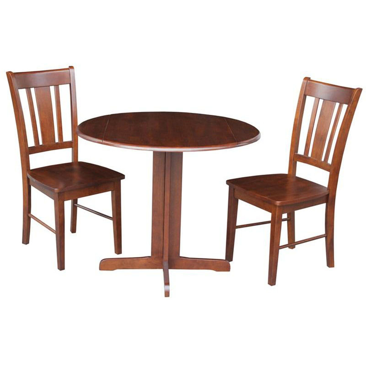 International concepts solid wood 3 piece 36 39 39 diameter for Solid wood round dining table with leaf
