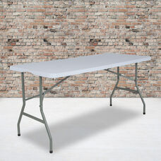 4.97-Foot Bi-Fold Granite White Plastic Folding Table