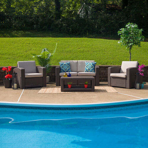 Our 4 Piece Outdoor Faux Rattan Chair, Loveseat and Table Set in Chocolate Brown is on sale now.