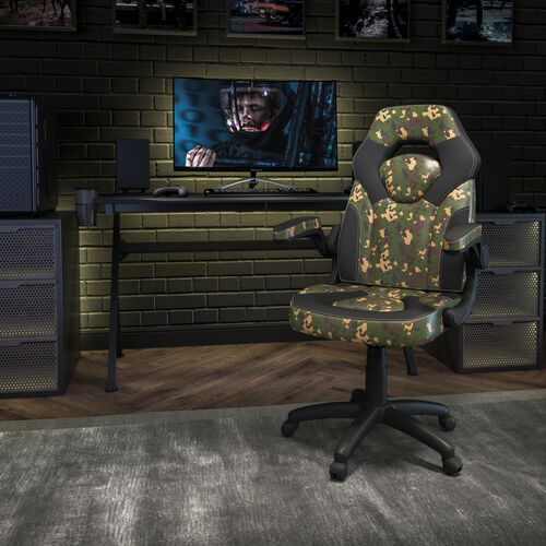 BlackArc X10 Gaming Chair Racing Office Ergonomic Computer PC Adjustable Swivel Chair with Flip-up Arms, Camouflage/Black LeatherSoft