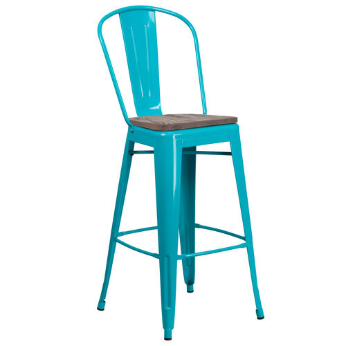 """Our 30"""" High Crystal Teal-Blue Metal Barstool with Back and Wood Seat is on sale now."""