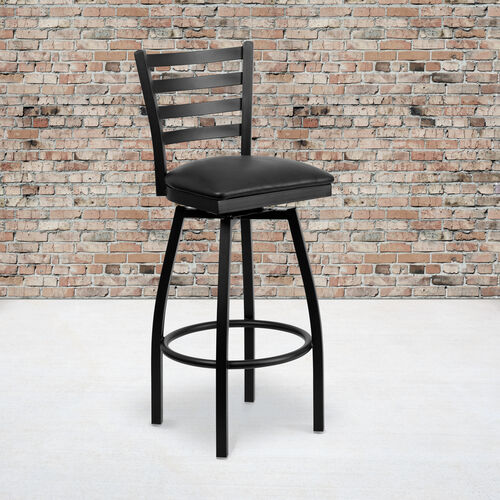Our Black Ladder Back Swivel Metal Barstool is on sale now.