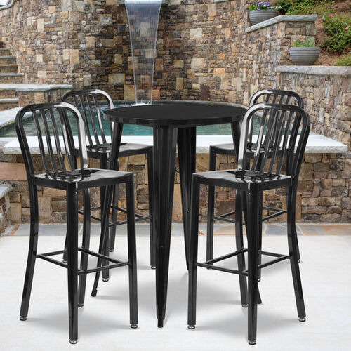 """Our Commercial Grade 30"""" Round Metal Indoor-Outdoor Bar Table Set with 4 Vertical Slat Back Stools is on sale now."""