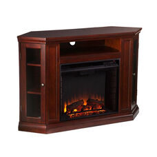 Claremont Corner Convertible Media Center with Glass Storage Doors and Electric Fireplace - Cherry
