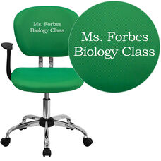 Embroidered Mid-Back Bright Green Mesh Swivel Task Chair with Chrome Base and Arms