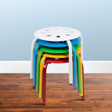 """Plastic Nesting Stack Stools, 11.5""""Height, Assorted Colors (5 Pack)"""