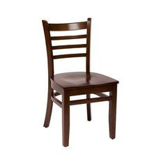 Burlington Walnut Wood Ladder Back Chair - Wood Seat