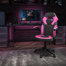 BlackArc X10 Gaming Chair Racing Office Ergonomic Computer PC Adjustable Swivel Chair with Flip-up Arms, Pink/Black LeatherSoft