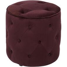 Ave Six Curves Button Tufted Round Ottoman - Port Velvet Velvet