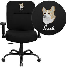 Embroidered HERCULES Series Big & Tall 400 lb. Rated Black Fabric Rectangular Back Ergonomic Office Chair - Arms
