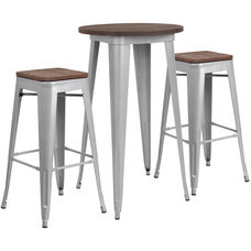 "24"" Round Silver Metal Bar Table Set with Wood Top and 2 Backless Stools"