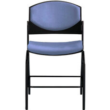 Eddy Black Counter Stool with Upholstered Back and Seat Pads