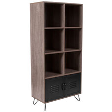 "Woodridge Collection 59.25""H 6 Cube Storage Organizer Bookcase with Metal Cabinet Doors and Metal Legs in Rustic Wood Grain Finish"