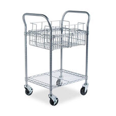 Safco® Wire Mail Cart - 600-lb Cap - 18-3/4w x 26-3/4d x 38-1/2h - Metallic Gray