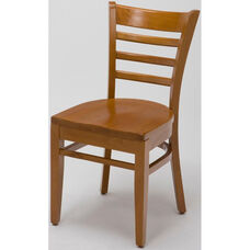 4500 Series Wood Frame Armless Cafe Chair with Contoured Ladder Back and Wood Seat