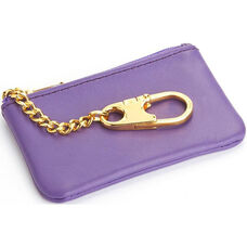 Coin and Key Holder Wallet - Top Grain Nappa Leather - Purple