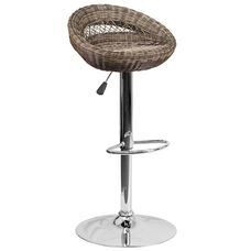 Contemporary Wicker Rounded Back Adjustable Height Barstool with Chrome Base