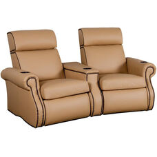 Bradford Two Seater Home Theater - Wedge Arm in Top Grain Leather