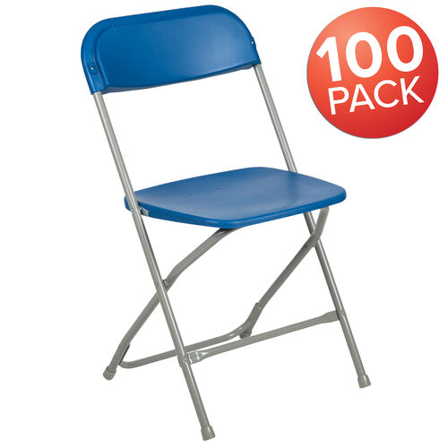 Our HERCULES Series 100 Pack 650 lb. Capacity Premium Blue Plastic Folding Chair is on sale now.
