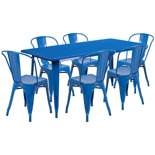 """Our Commercial Grade 31.5"""" x 63"""" Rectangular Blue Metal Indoor-Outdoor Table Set with 6 Stack Chairs is on sale now."""
