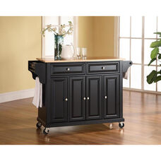 Natural Wood Top Kitchen Island Cart with Cabinets - Black Finish