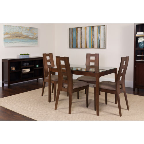 """Our Hollister 5 Piece 31.5"""" x 47.5"""" Rectangular Glass/Walnut Wood Table Set with Window Pane Back Wood Dining Chairs - Padded Seats is on sale now."""