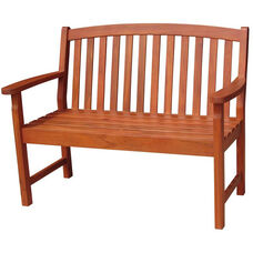 Outdoor Oil Treated Asian Hardwood Vertical Slat Back Bench with Arms - Oak Finish